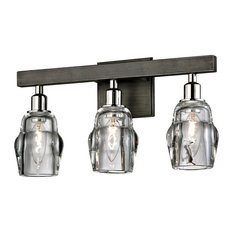 """Citizen 17"""" Light Bath Wall Sconce, Graphite, Clear Pressed Glass"""