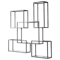 Quentin Open Framed Burnished Steel and Clear Glass Wall Shelves