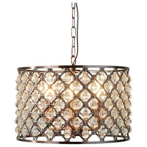 Marquise 3-Light Pendant, Antique Copper and Glass Tear Drop Trim