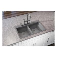 "ELG3322GS0 Quartz Classic 33"" x 22"" Equal Double Bowl Drop-in Sink, Greystone"