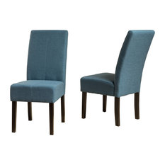 GDF Studio Percival T-stitch Fabric Dining Chairs Blue Set Of 2