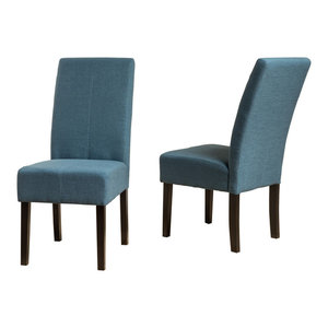 GDF Studio Percival T-stitch Fabric Dining Chairs, Blue, Set of 2
