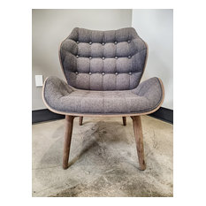 Designer Large Fabric Tufted Padded Dark Solid Wood Accent Lounge Chair Gray