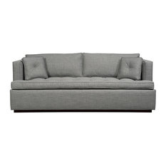 Duralee Furniture - Maxwell Boxed Back Sleeper Queen, Mineral - Sleeper Sofas