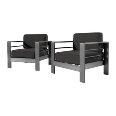 GDFStudio   Crested Bay Outdoor Gray Aluminum Club Chairs With Water  Resistant Cushions, Set