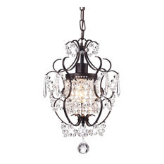 Amorette 1-Light Antique Bronze Finish Mini Chandelier With Crystals