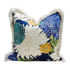 """Flower Print Pillow Cover With Pearl Fringe, 12""""x20"""""""