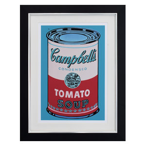 """""""Campbell's Soup Can on Blue"""" Framed Print, 59x77 cm"""