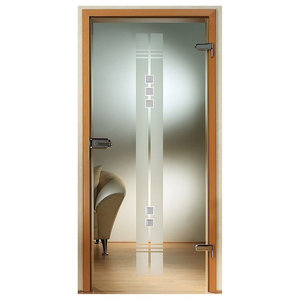 Interior Glass Door / Clear Glass + Frosted Stripes and Transparent Rhinestone ,
