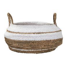 Woven Raffia Basket, Large, Natural/White