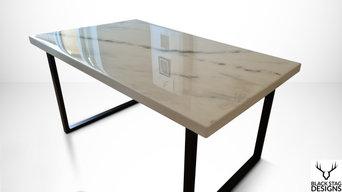 Epoxy Resin White Carrara Marble Dining Table