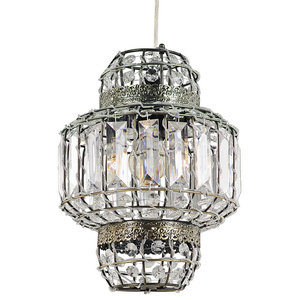 Morrocan Lantern Style Antique Brass Clear Acrylic Pendant Shade