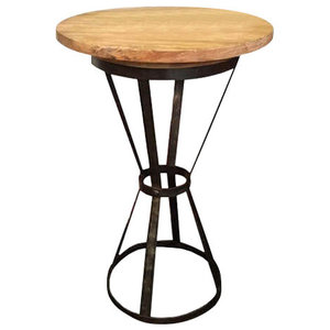 Recycled Teak and Steel Round Bistro Table
