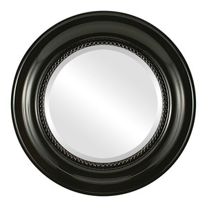 Heritage Framed Round Mirror in Gloss Black, 23