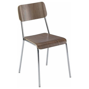 Contemporary Stackable Chair, Steel Frame and Veneered Plywood, Walnut