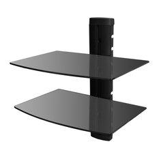 VidaXL 2-Tier Wall Mounted Glass DVD Shelf, Black