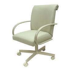 Swivel Caster Dining Chair On Wheels Ocean Beige-Vinyl Beige
