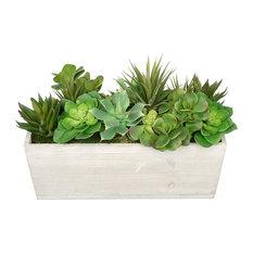 Artificial Succulent Garden, Cream Wood Rectangle Planter