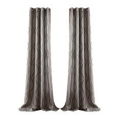 Swirl Room Darkening Window Curtain Gray Set 52x84