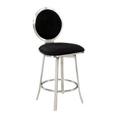 Chintaly Upholstered Round Back Memory Swivel Bar Stool BS Bar Stools
