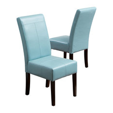GDF Studio Emilia Fabric Dining Chairs Teal, Set of 2