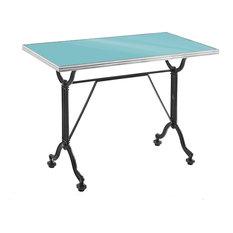 Rectangular Enamel Bistro Table, Blue, Stainless Steel Rim