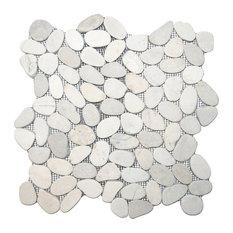"""12""""x12"""" Sliced White Pebble Tile"""