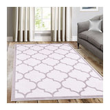 Trendy White with Border Rectangle Plain/Nearly Plain Rug 240x330cm