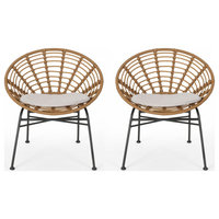 Mia Outdoor Wicker Dining Chair With Cushion, Set of 2, Brown/Black/Beige