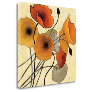 Spice And Turquoise Florals Wrapped Canvas Art Print Contemporary Prints And Posters By Great Big Canvas