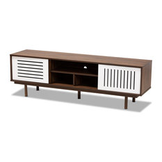 Baxton Studio Meike Two-Tone Walnut Brown And White Finished Wood TV Stand
