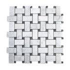 "12""x12"" Carrara White Basketweave Mosaic, Black Dots Honed, Chip Size: 1""x2"""
