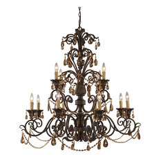 Rochelle 12 Light Chandelier in Weathered Mahogany Ironwork