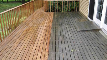 Before & After Pressure Washing Deck in Seekonk, MA