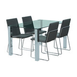 Kanta Dining Table And 4 Kito Chairs, Grey Faux Leather