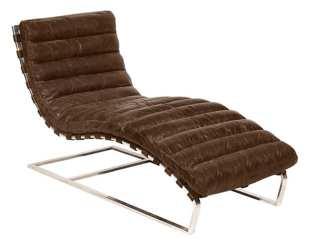 Beautiful Oviedo Leather Chaise Lounge, Vintage Cigar