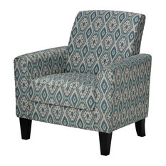 Cortesi Home   Cortesi Home Tali Blue Diamond Arm Accent Chair   Armchairs  And Accent Chairs