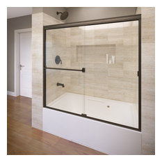 """Classic Semi-Frameless Sliding Tub Door, Fits 56-60"""", Clear, Oil Rubbed Bronze"""