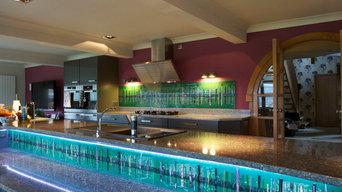Bespoke Fused Glass Kitchen Splashback in Bridge of Allan, Sterlingshire