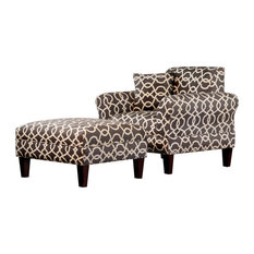 Carolina Accents - Briley Armchair and Otttoman, Emory Pewter - Armchairs and Accent Chairs