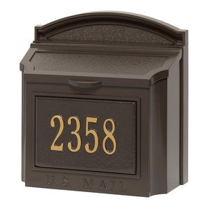 Whitehall Custom Wall Mount Aluminum Mailbox with Address - French Bronze/Gold
