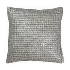 """Mother of Pearl Decorative Pillow, Silver, 18""""x18"""""""