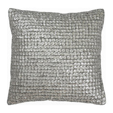 """Best Home Fashion - Mother of Pearl Decorative Pillow, Silver, 18""""x18"""" - Decorative Pillows"""