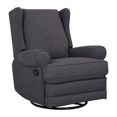 Manual Recliner Padded Seat And Arm Great For Your Comfort Smoke Grey