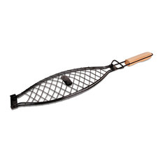 Jim Beam - Bbq Large Fish Basket With Wooden Handle - Grill Tools & Accessories