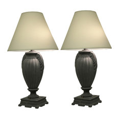 Set of 2 Deep Bronze Finish Urn Style Table Lamps 30 Inches Tall