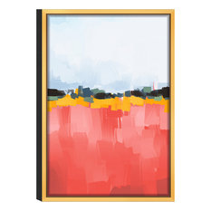 "Abstract Dawn Acrylic Glass Art, Gold Frame, 16""x24"", Red"
