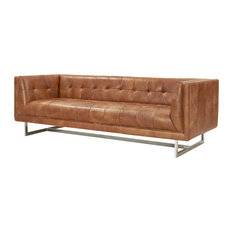 Crafters and Weavers Taylor Tufted, Light Brown Leather, Sofa