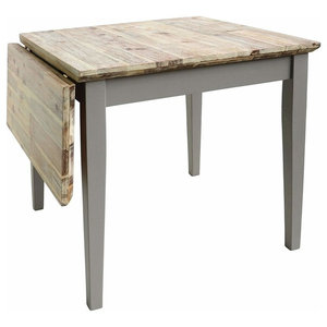 Square Extended Table, Hardwood With Oak Finished Top, Contemporary Style, Grey