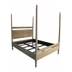 Noir Venice Bed, Eastern King, Weathered, Mahogany, 4-Post *Quick Ship*